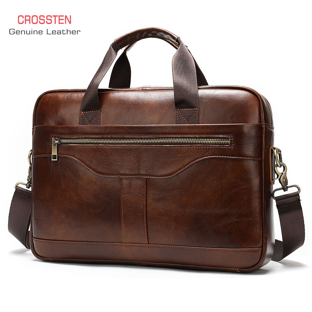 2020 New Natural Cowskin 100% Genuine Leather Men's Briefcase Large Capacity Business Shoulder Bag Cowhide Laptop Bag