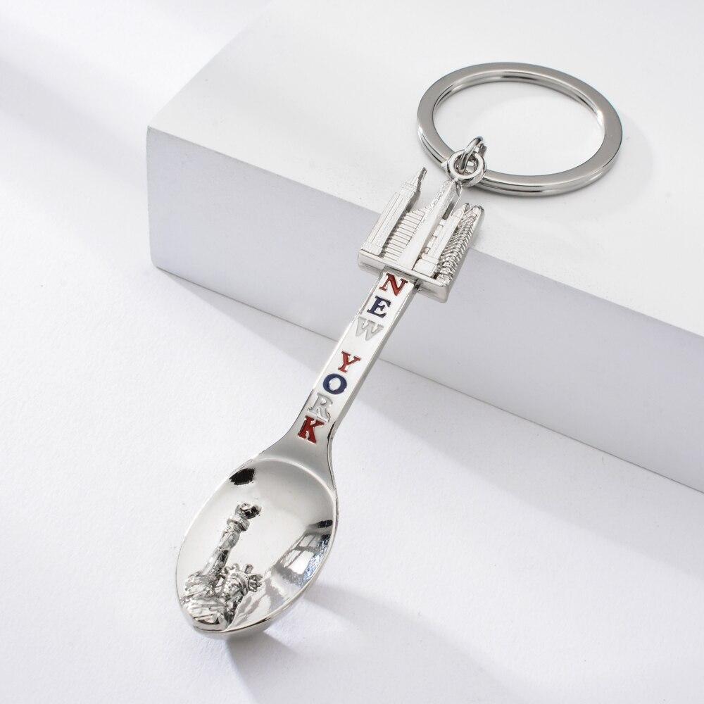 Vicney New York Little Spoon Opener Keychain Zinc Alloy Key Chain Statue Of Liberty Pattern DIY Keyring For Men Women