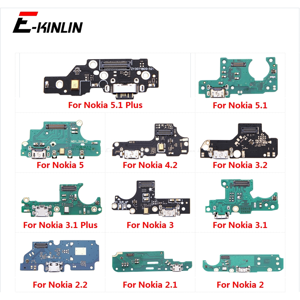 100% New USB Charging Charger Dock Port Board With Microphone Mic Flex Cable For Nokia 3.1 5.1 Plus 2.1 2 2.2 3 3.2 4.2 5