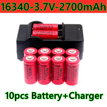 2021 new 16340 rechargeable Li ion battery LED flashlight, 3.7V, 2700 MAH, battery and charger package for sale