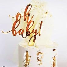 Topper dorado y rosa para tarta de feliz cumpleaños, tema acrílico