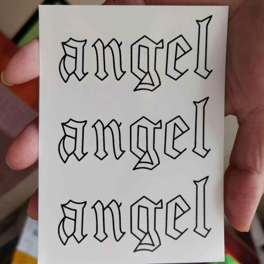 """זמני קעקוע מדבקה עמיד למים קעקועים מכתב """"מלאך"""" מזויף Tatto מדבקות קעקוע יד רגל צוואר גוף אמנות עבור נשים ילדה גברים"""
