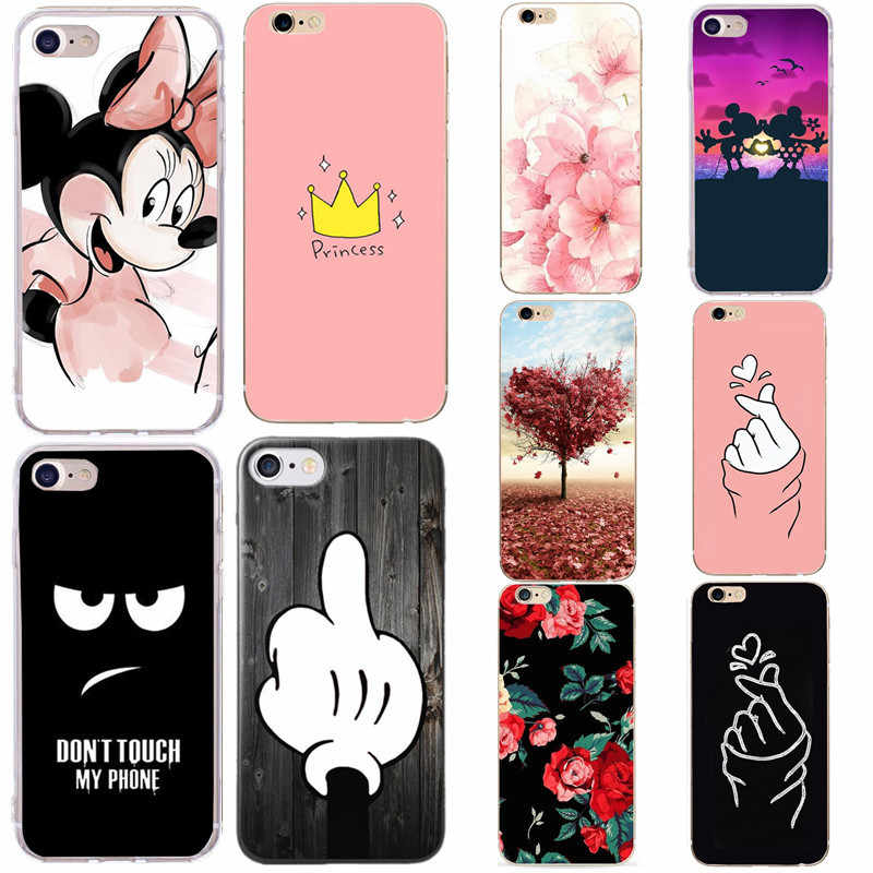 Capa para iphone 7 capa de silicone minnie capa de casca macia para apple iphone 5 5S se 6 s 7 8 plus xs max x 10 xr sacos funda