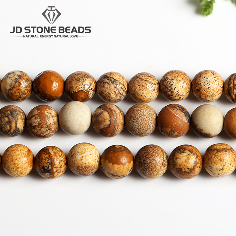 Free Shipping Gemstone Natural Stone Picture Jaspers Round Beads 15