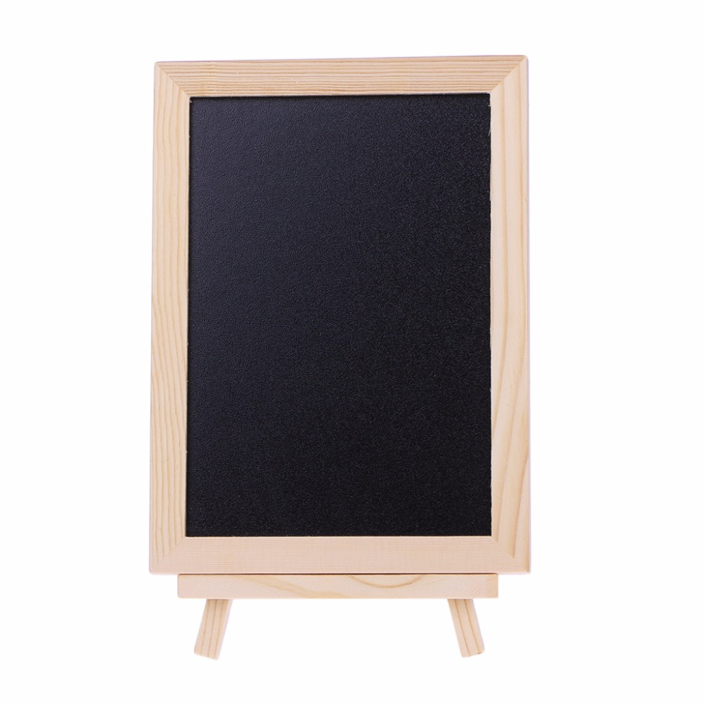 New 18x13cm Wood Tabletop Chalkboard Double Sided Blackboard Message Board Children Kids Writing Black Boards Toy