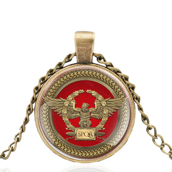 New Arrival Vintage SPQR Roman Empire Design Bronze Glass Dome Charm Pendant Necklace Jewelry Men Women Accessories Gifts image