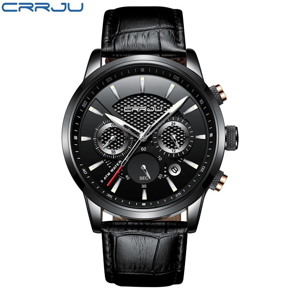 CRRJU, nuevos relojes de moda para hombre, relojes de pulsera analógicos de cuarzo, cronógrafo resistente al agua de 30M, reloj deportivo con fecha Relojes De Correa De Cuero para hombre 11