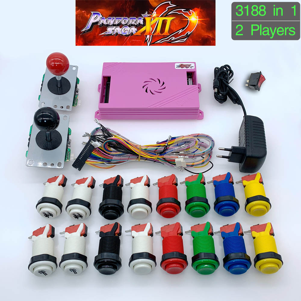 3188 In 1 Pandora Saga Box 12 DIY Arcade Kit Game Board 8 Way Joystick & American Style Push Button For 2 Playes Arcade Machine