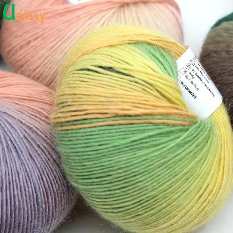 6pcs Fancy Rainbow Yarn Fo Knitting Chunky Hand-Woven Colorful Knitting Scores 100% Wool Yarn Crochet Thread 300g