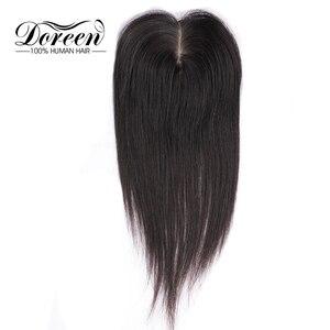 Image 2 - דורין 8 אינץ משי בסיס שיער טופר בתולה שיער טבעי פאה עבור נשים טבעי צבע נשים פאה עם 3 קליפים