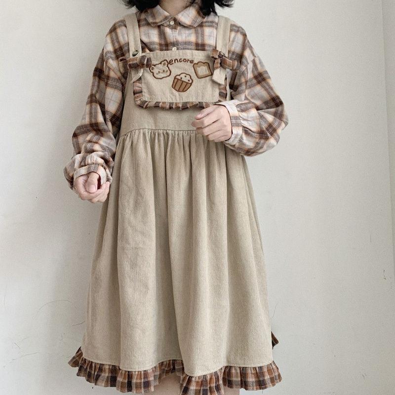 Himifashion Lolita Cute Bear Corduroy Overall Dress Women Girls Vintage Plaid Ruffle Harajuku Casual Kawaii Suspenders Dresses