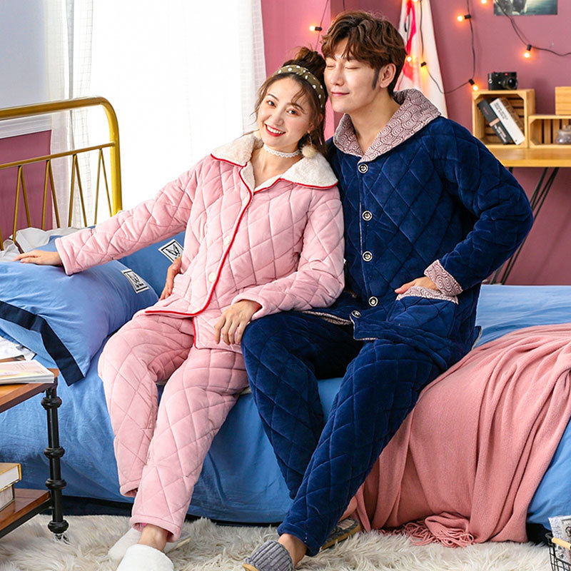 Couple Long Sleeve Coral Fleece Sleepwear Suit Winter Thick Warm Soft Flannel Pajama Suit 2PCS Sleep Set Homewear Nightgown