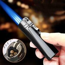 New Plating Metal Windproof Triple Torch Jet Butane Gas Lighter Visible Gas Window Portable Spray Gun Cigar Gadgets For Men недорого