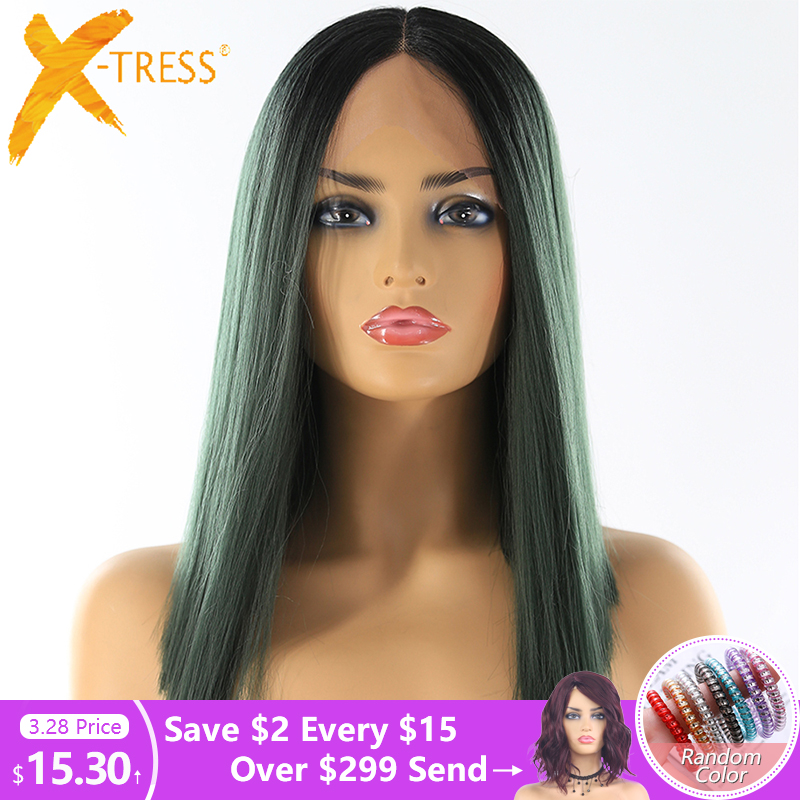 Yaki Straight Lace Front Synthetic Hair Wigs High Temperature Fiber X-TRESS Ombre Green Color Short Blunt Lace Wig Middle Part