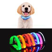 Anillo de luz fluorescente LED para perro novedad cuello de iluminación Anti pérdida mascota lámpara nocturna novedades 2019