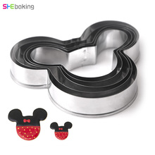 Shebaking 5pc/set Mickey Cookie Cutters Kitchen Baking Tool Stainless Steel Cake Mold Biscuit Diy Decoration