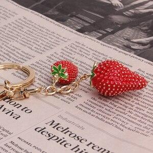 1PC symulowane owoce brelok czerwona truskawka brelok brelok dla kobiet dziewczyna biżuteria śliczny uchwyt na kluczyk samochodowy brelok