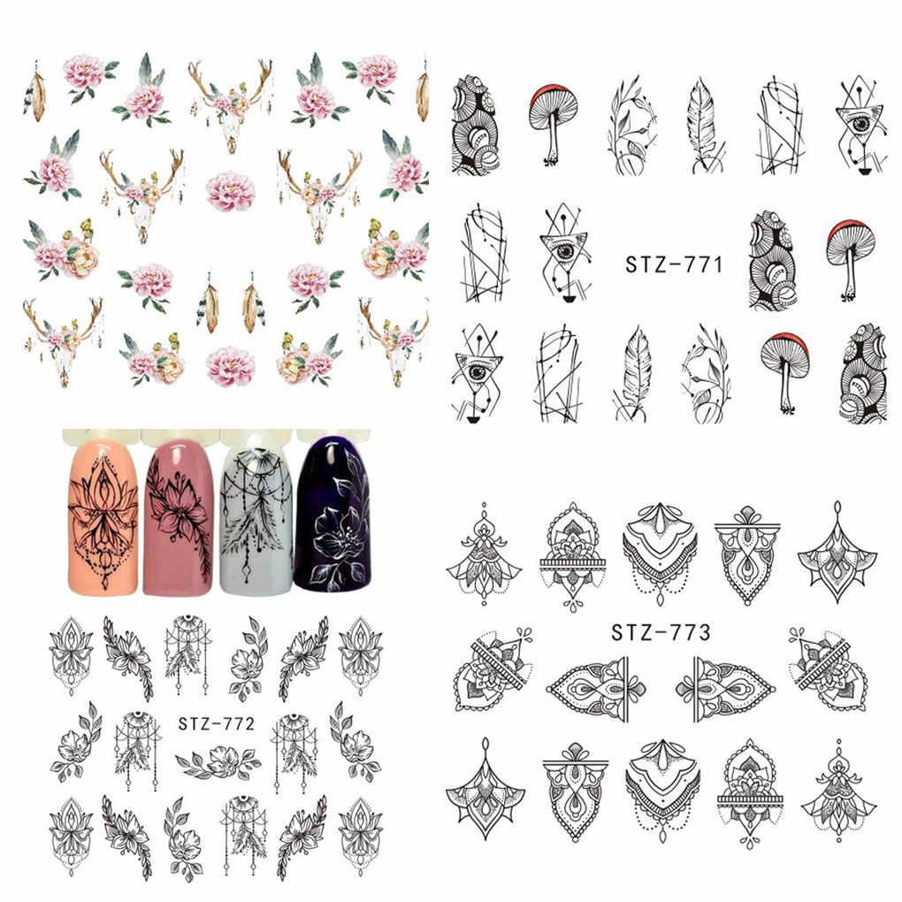 Hot Sale Women Girls Flower Nail Decoration Sticker Mushroom Retro Nails Art Decor Decal DIY Nail Manicure Wrap Accessories