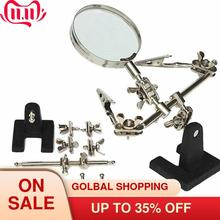 Helping Third Hand Soldering Iron Stand Clamp Welding Magnifying Glass led 2 Alligator Clips for Electronic Appliance Repai