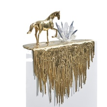 Home Decoration Accessories Living Room Gold Horse Statue Walking On The Edge Of The Waterfall Luxury Lucky Interior Soft Horse
