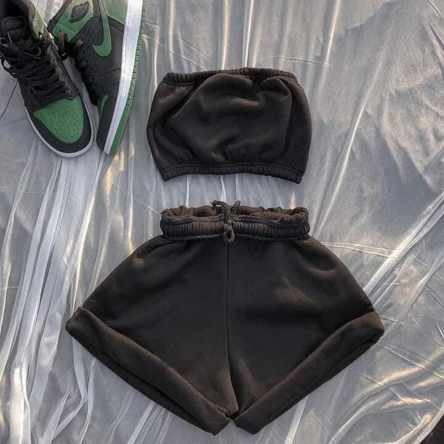 Women's 2021 Crop Top Solid Sportswear Two Piece Sets New Casual Drawstring Shorts Matching Set Summer Sexy Athleisure Outfits 1