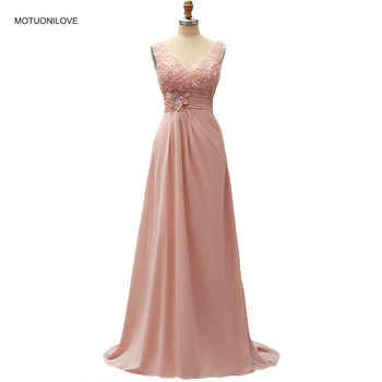 Real Photo 2019 Sleeveless V Neck Flowers Dusty Pink Long Evening Pageant Dresses Formal Gown Plus Size Customize robe de soiree
