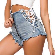 Pantalones cortos con cordones para mujer, Vaqueros cortos rasgados con cremallera en la espalda, Vaqueros sexys de cintura alta para tareas domésticas, DK091S30, 2020