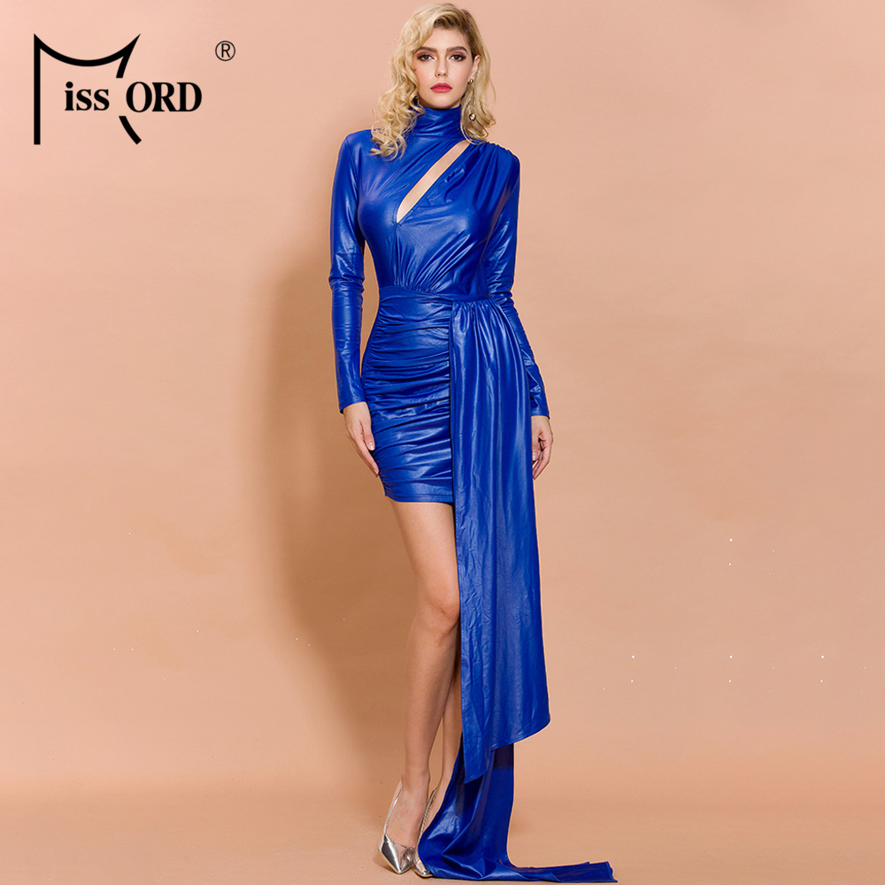 Missord 2019 Women Sexy High Neck Hollow Out Long Sleeve Mini Dresses Female Elegant Long Belt Solid Color Dress  FT19826