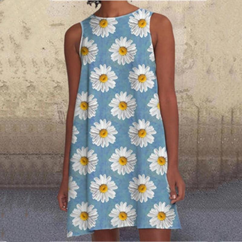New Women Dress Fashion Sexy Multi-Color Printed Summer Loose Sleeveless Women Dress Tank O Neck Casual Ladies Plus Size Dress