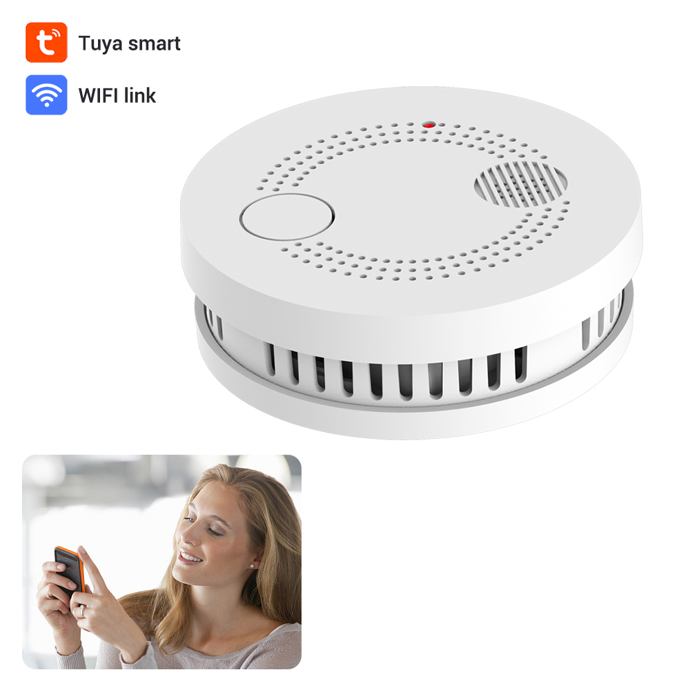 CPVan ES63W WiFi Smoke Detector Wireless Independent Smoke Sensor Fire Protection Portable Fire Alarm Home Security Detector