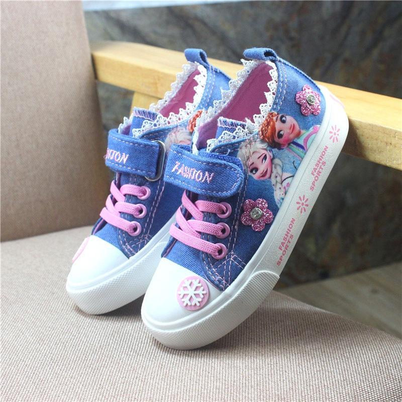 Детские повседневные туфли Disney wild, Нескользящие дышащие парусиновые туфли «Холодное сердце Эльзы», модные Мультяшные туфли для девочек