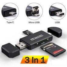 Leitor de cartões sd usb c 3 em 1, leitor de cartões de memória inteligente tf/micro sd usb 2.0 adaptador de flash tipo c otg cardreader