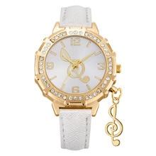 Fashion Women Watch Music Notation Creative Personality Jewelry Watches Womens PU Leather Female Clock Lad Luxury
