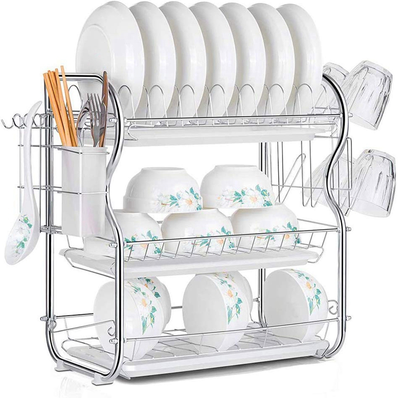 HOT SALE 3 Tier Dish Drainer Rack Holder Dish Drying Rack Plate Dish Cup Cutlery Drainer Rack Plates Holder with Mug Holder and