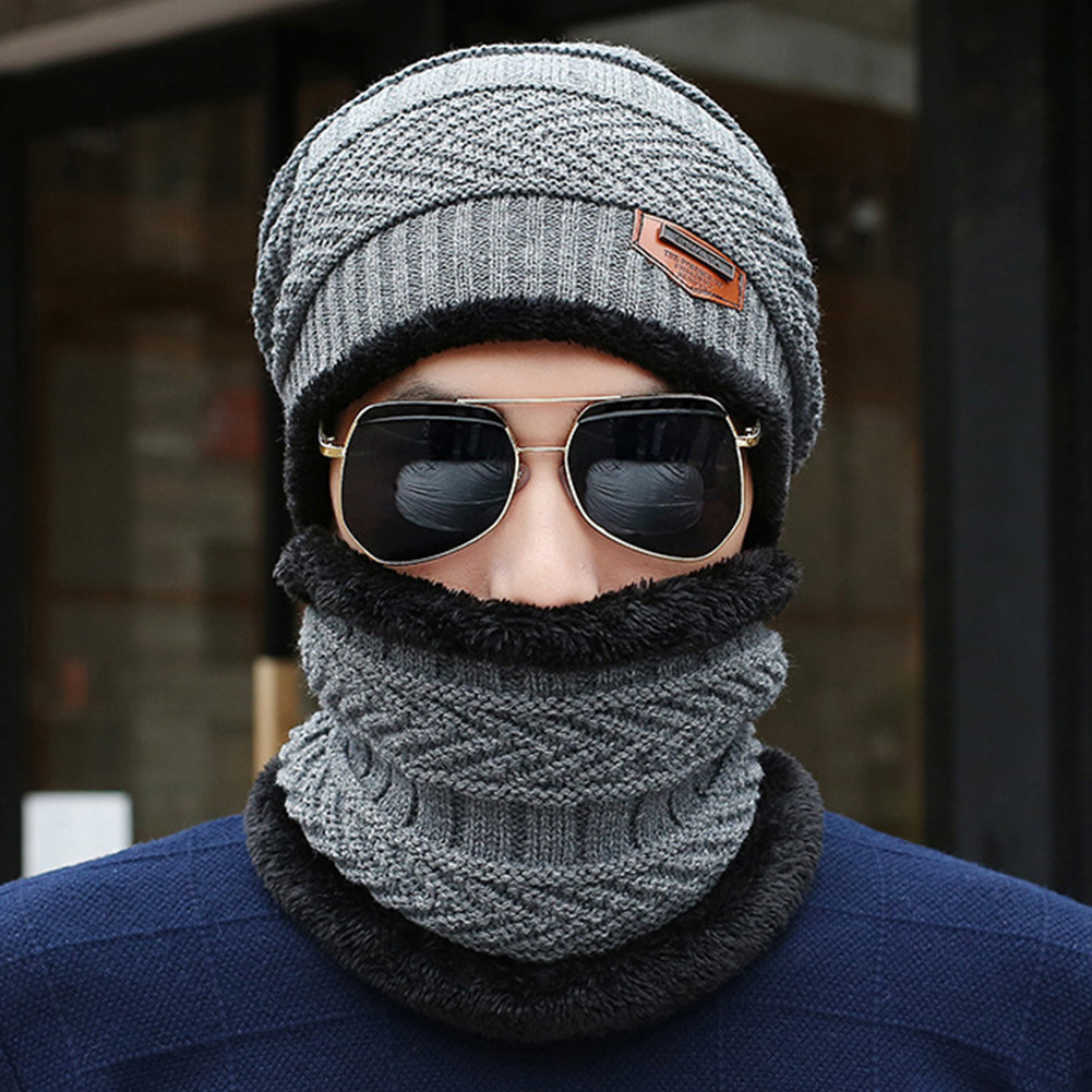 Men Hat Scarf Set Ski Hiking Multifunction Windproof Outdoor Keep Warm Fashion Autumn Winter Knitting Wool Camping Elastic Soft