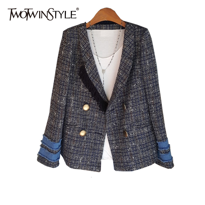 TWOTWINSTYLE Plaid Patchwork Tassel Blazer For Women Notched Long Sleeve Button Casual Suit Female Fashion Autumn New 2020