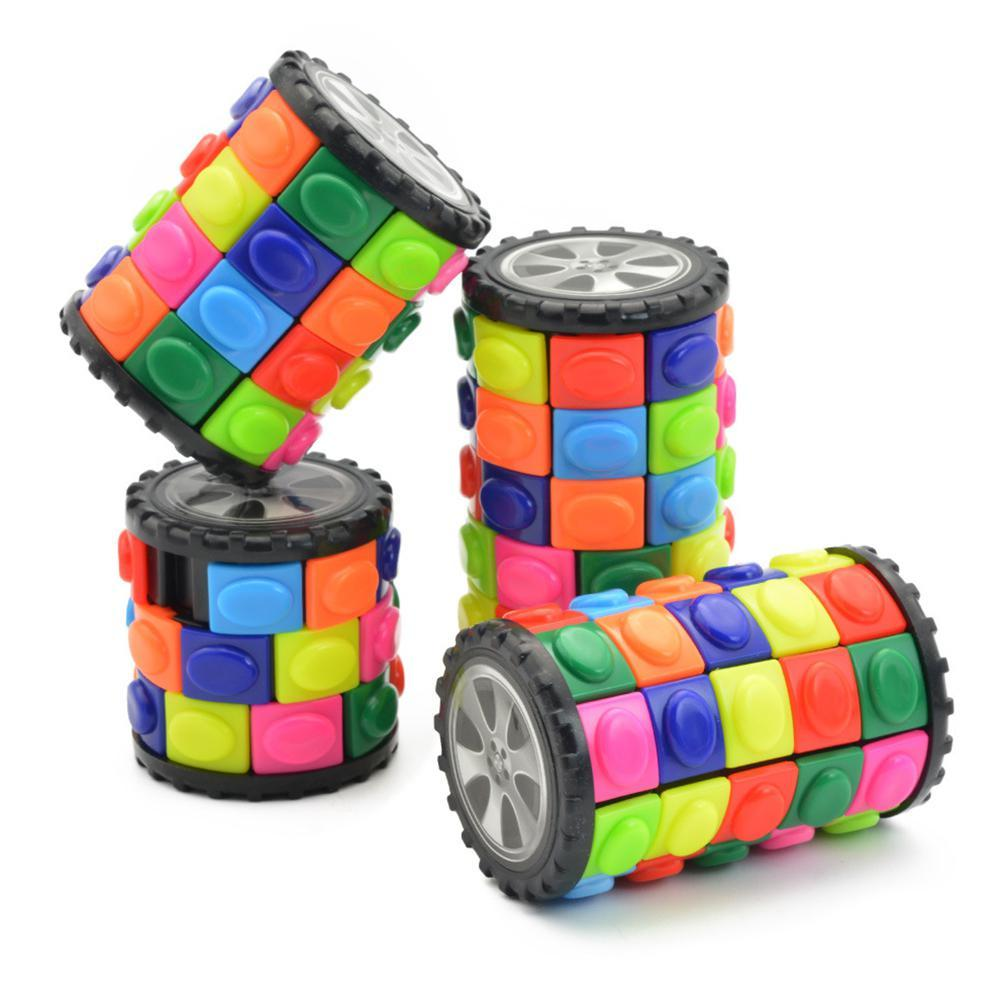 3D Rotate Slide Cylinder Magic Cube Colorful Babylon Tower Stress Relief Cube Kids Puzzle Toys For Children Adults Sensory Toys