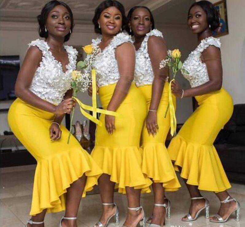 Thé longueur jaune africain demoiselle d'honneur robes de grande taille sirène col en V perlé dentelle Flora haut haut haut bas demoiselle d'honneur robes