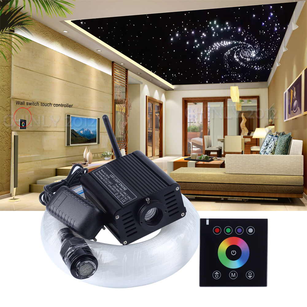 LED Fibre Optique Light 16W RGBW 2.4G Wireless Wall Switch Touch Controller Star Ceiling Kit 300 Strands 3m 0.75mm+1.0mm+1.5mm