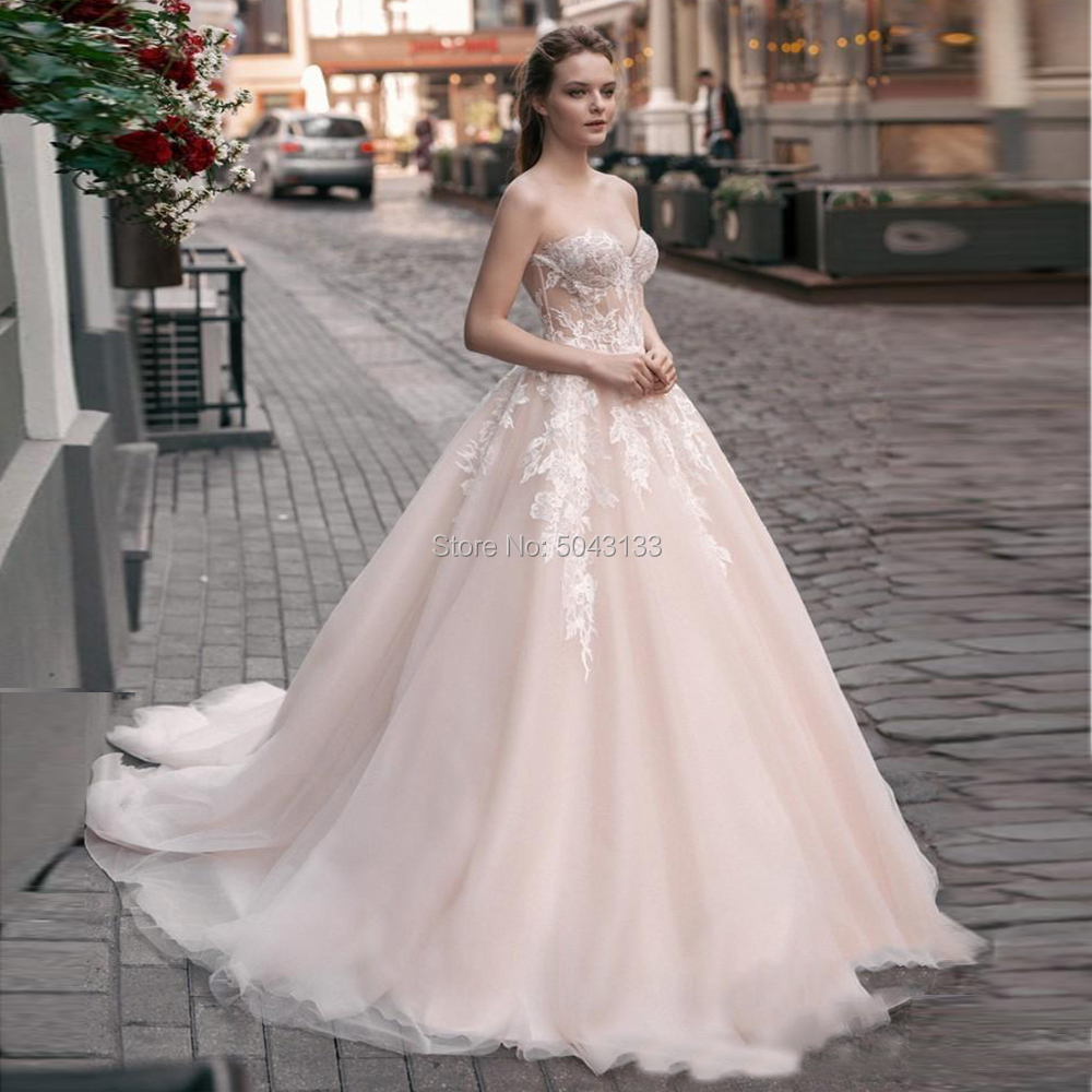 Modern Blush Lace Wedding Dresses Sexy Sweetheart Off The Shoulder A Line Soft Tulle Bridal Gowns Chic Applique Bride Dress 2020