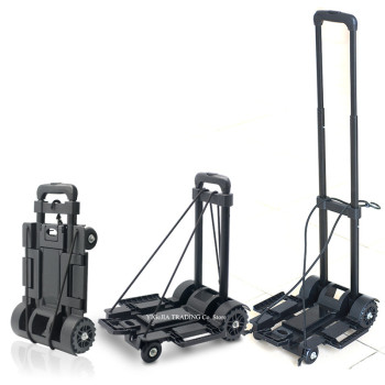 Extended Luggage Trolley Parcel Backpack Trolley Hand Cart With 4 Wheels, Collapsible and Portable Fold Up Dolly