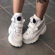 Prova perfetto design da marca de alta plataforma sapatos para mulher botas de tornozelo de couro genuíno fundo grosso high-top tênis de rua sapato