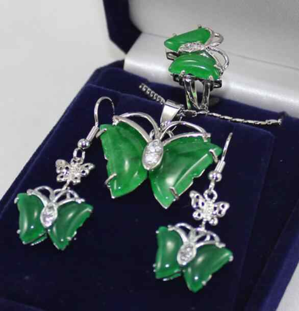 เครื่องประดับไข่มุกชุดที่ชื่นชอบ & เงินที่สวยงามสีเขียว jades ผีเสื้อต่างหูจี้ขนาดแหวน 7 8 9 # ฟรีการจัดส่ง