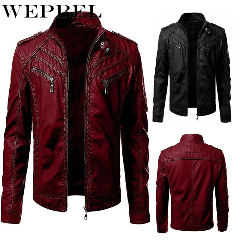 WEPBEL Men Slim PU Jackets Full Sleeve Zippers V Neck Pockets Casual Fashion Autumn Winter New Jacket