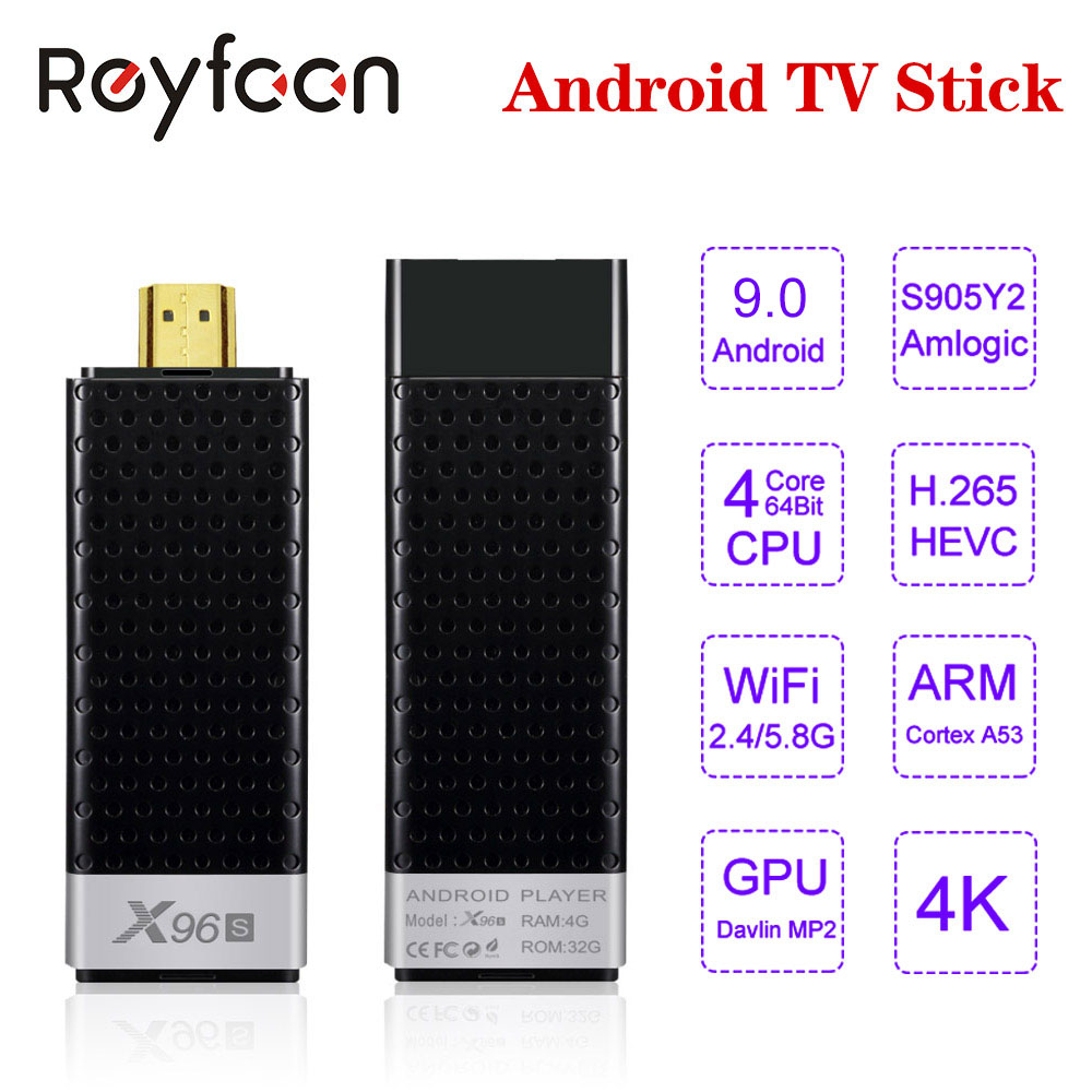 Android 9,0 TV-Stick X96S 4GB 32GB Amlogic S905Y2 Quad Core 4K 2,4G & 5GHz dual Wifi Bluetooth 4,2 1080P H.265 TV Stick Android TV