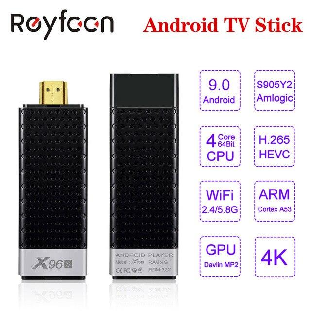 Android 9.0 TV çubuk mini PC X96S 4GB 32GB Amlogic S905Y2 dört çekirdekli 4K 2.4G & 5GHz çift wifi Bluetooth 4.2 1080P H.265 TV çubuk mini PC Android TV