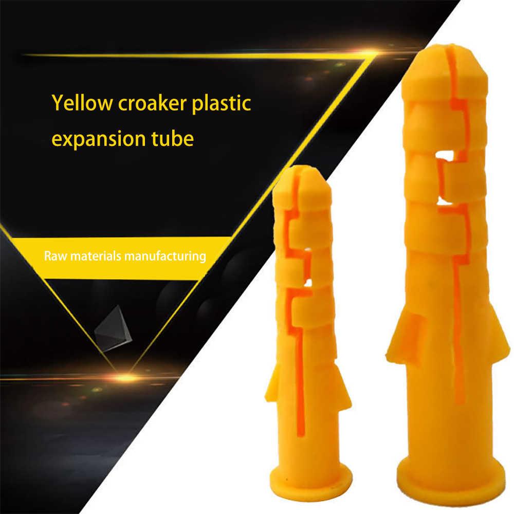 300 قطعة M6 الأصفر مضلع مرساة بلاستيكية جدار البلاستيك مسامير التوسع الأنابيب أنبوب جدار المقابس