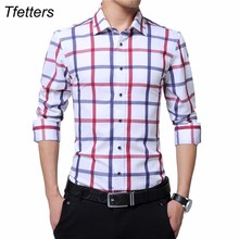 TFETTERS Brand Plus Size Casual Cotton Plaid Shirt Men Long Sleeve Red and White Plaid Turn Down Collar Dress Shirt for Man