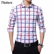 TFETTERS Camiseta a cuadros de algodón para hombre, camisa masculina informal de talla grande, de manga larga, en rojo y blanco, con cuello vuelto