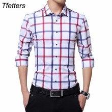 TFETTERS العلامة التجارية حجم كبير القطن عادية منقوشة قميص الرجال طويلة الأكمام الأحمر والأبيض منقوشة بدوره أسفل طوق فستان قميص للرجل